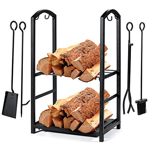 Syntrific Fireplace Log Rack wit...