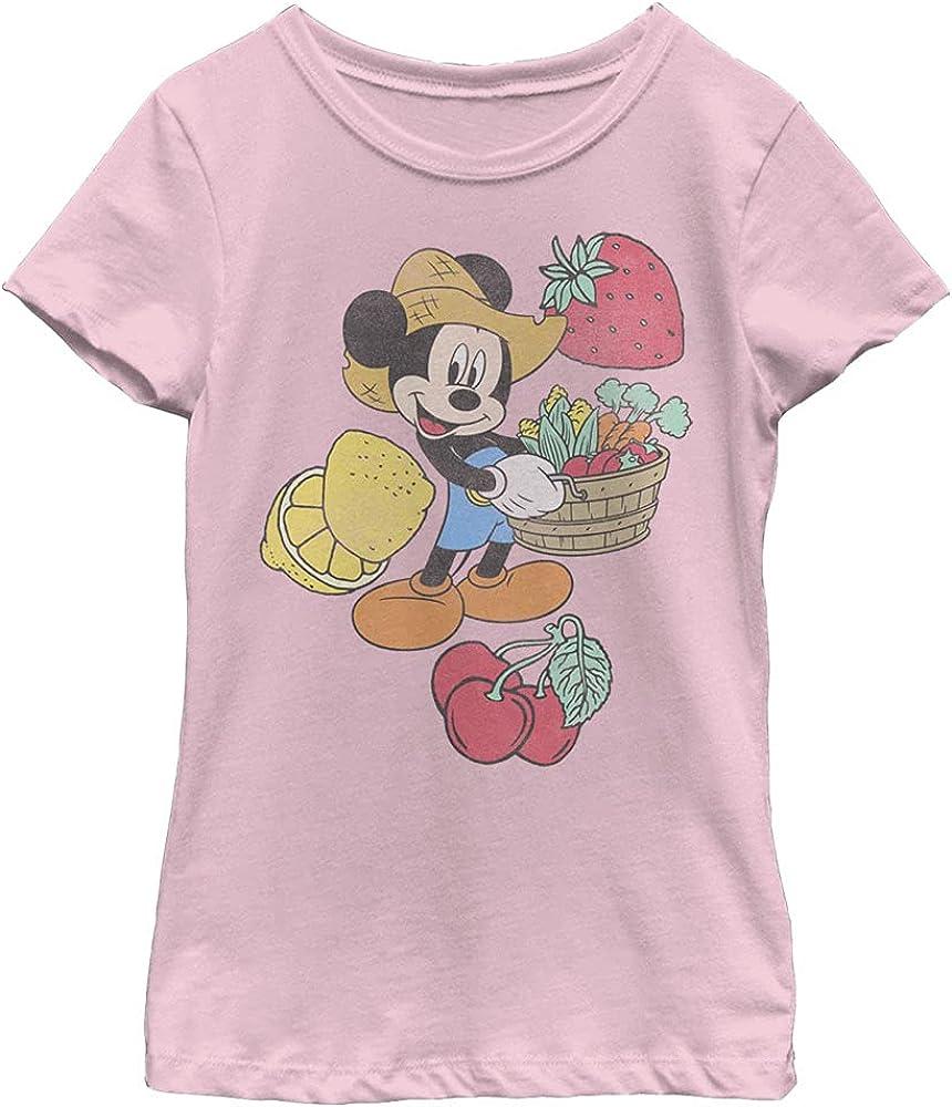 Disney Characters Farmer Mickey Girl's Solid Crew Tee