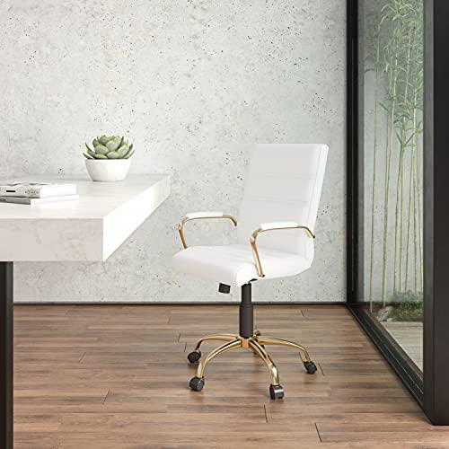 Flash Furniture Silla de Oficina con Respaldo Medio - Silla de Escritorio Ejecutiva de Polipiel Blanco – Silla de Ordenador con...