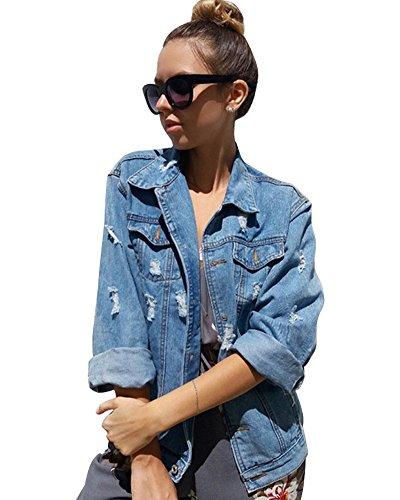 Minetom Damenjacke, elegant, klassisch, Blau, Denim, einfache Knopfleiste, Rosa bestickt, Mantel, Jeans, Jacke, Blousons Gr. 42, Ac-Bleu Clair