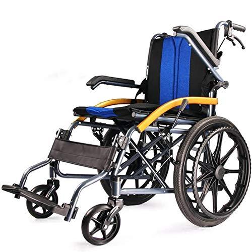 LEEFISH Rollstuhl Faltbar, Trommelbremse Mit Steckachsensystem, Sitzbreite 45 cm,Blue