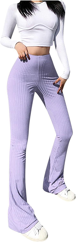 HDgTSA Women's Flare Palazzo Pants Fashion Solid Color Skinny High-Waist Micro-Cut Casual Trousers