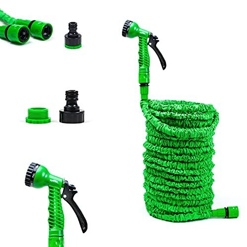Grafner Flexischlauch Basic, 37,5 Meter, mit Multifunktionsbrause, stabiler Latexkern, KEIN PLATZEN, massive Ausführung, grün flexibler Gartenschlauch flexi Schlauch dehnbar