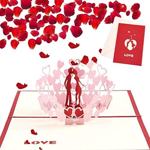 Sethexy 3D Boda Tarjetas de felicitación con sobres Surgir Amor Invitaciones de boda día de San Valentín Aniversario Regalo para Novia Novio Esposa Esposo Amigos Familia