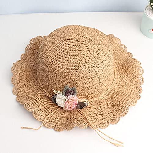 Sombrero para el Sol Sombrero De Paja De Moda para Niñas Y Niños, Flores Dulces Y Bonitas, Protector Solar Transpirable, Sombrero para El Sol De Playa con Bandolera, Conjunto para Niñas De 2