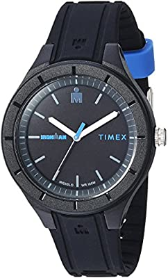 Timex TW5M17100 Ironman Essential Urban Analog 38mm Black/Blue Silicone Strap Watch from Timex