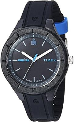 Timex TW5M17100 Ironman Essential Urban Analog 38mm Black/Blue Silicone Strap Watch from Timex