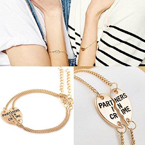 JETTINGBUY beste vrienden Split hart hanger armband