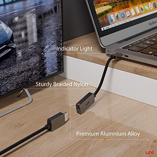 uni USB C auf HDMI Adapter 4K, USB Typ C auf HDMI Adapter(Thunderbolt 3 kompatibel) Bis zu 4K, Kompatibel mit iPad Pro 2018, MacBook, Samsung S20, Surface Pro 7, Huawei P40 und mehr - Grau