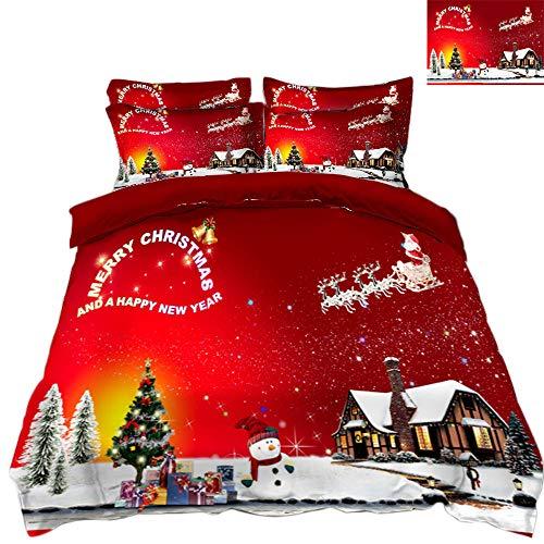 WPHRL Ropa de Cama 3D Imprimiendo Funda nórdica Navidad roja Conjunto de 3 Piezas Niño niña Ligero Poliéster Suave Transpirable Viernes Negro de Navidad 140x200cm