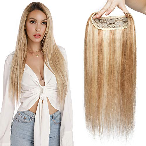 Extension Double Fil Invisible Cheveux Naturel Monobande - Rajout Cheveux Humain à Enfiler Sans Clips - Volume Epais (#12+613 MARRON CLAIR MECHE BLOND CLAIR, 50 cm (110 g))