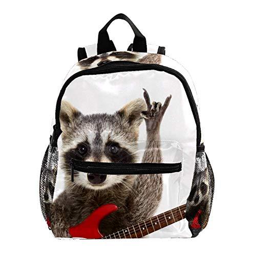 TIZORAX Rucksack mit Rocking Racoon und Gitarre, leicht, für Reisen, Schule, Jungen und Mädchen Muster 1 25.4x10x30 CM/10x4x12 in