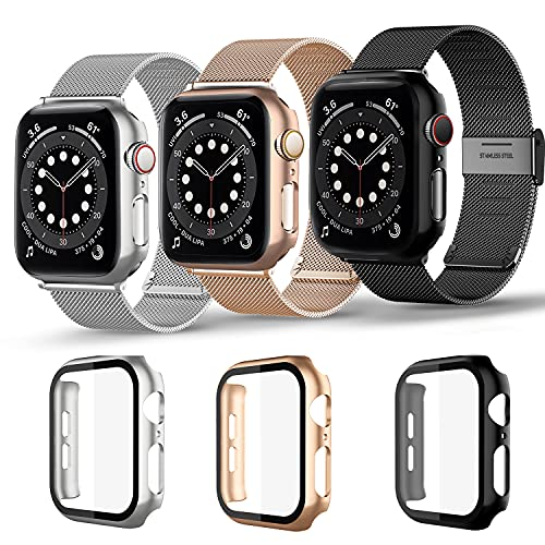 Magnetic iwatch Band with case Compatible for Apple Watch band 38mm 40mm 42mm 44mm ,3 pack milan Stainless Steel Mesh Replacement Bands and Case Built in Tempered Glass Screen Protector For Iwatch Series 6/5/4/3/2/SE,40mm,44mm (Black/Rose gold/Sliver, 38mm)