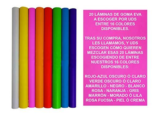 Goma Eva Barata 20 Láminas de 60 x 40 x 2mm de Colores Surtidos a Escoger por Uds Tras la compra Nosotros les llamamos y Uds Escogen qué Colores Necesitan de Foam ó Foamy