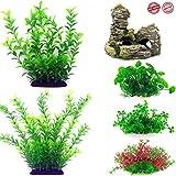 ANKOVI - Plantas para acuarios pequeñas y profesionales, decoración artificial para acuarios, plantas hidropónicas de plástico simulación de acuario, paquete de 6