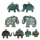 40pcs Mixed Bronze Elephant Charm Vintage...