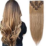 SEGO  Rajout Cheveux Clip Naturel Extension Clip Pas Cher [Basic Epaisseur] 8 Bands a 18 Clips Clip in Hair Extension - 100% Human Hair 8'(20cm) - 27#Blond Foncé