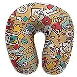 Almohada de viaje de cuello cojín de viaje en forma de U impresión de doble cara. juguetes para niños