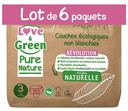 Love & Green Pure Nature Pack de 252 Couches écologiques non blanchies T3 x 42 (4-9 kg)