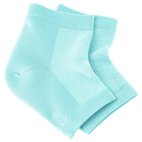 NatraCure Vented Moisturizing Gel Heel Sleeves - (Skin softening footcare treatment socks for Cracked heels, Dry feet, Foot calluses, Rough heel socks - (608-M CAT) - Color: Aqua Blue - Size: Regular