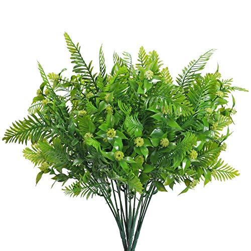 DWANCE 4Pcs Plantas Artificiales de Plástico Plantas Falsas para Interior Exterior Plantas Rojo Decorativas para Hogar Oficina Jardín Baño Cocina Balcón Decoración