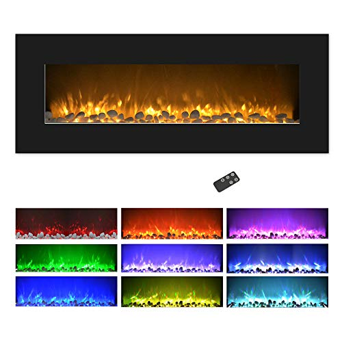 Northwest Electric Fireplace Wall Mounted, Color Changing LED Flame and Remote, 50', Black