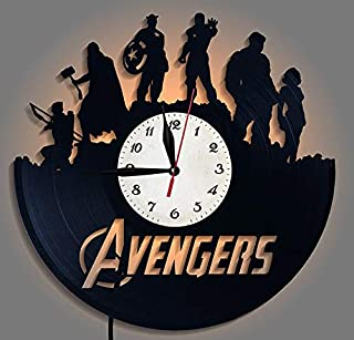 jiangying store Avengers Vinyl Record Reloj de Pared LED Luces nocturnas Avengers Clock Creative Clock