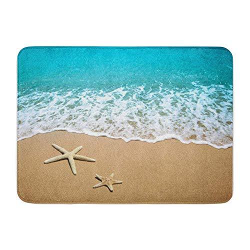 Badematte Flanellstoff Weiche saugfähige Blaue Welle Seestern am Strand Sand Szene Wasser Meer Gemütliche dekorative rutschfeste Memory Badezimmer Teppich
