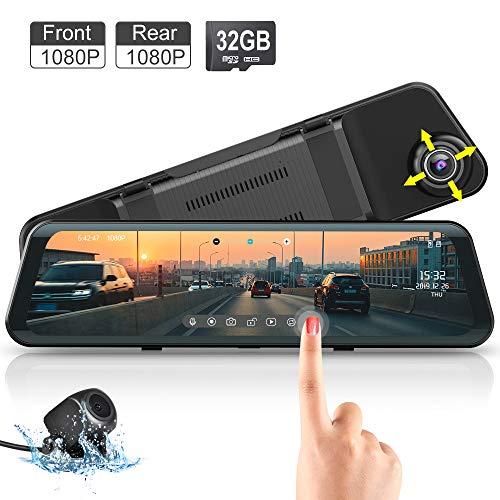 """Spiegel Dash Cam, Fodsports 12\"""" Touchscreen Full HD 1080 Autokamera Vorne Wasserdichte Rückfahrkamera, 150°Weitwinkel Dashcam Autokamera mit Loop-Aufnahme, Super Nachtsicht"""