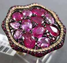 EXTRA LARGE 9.50CT DIAMOND AAA PINK SAPPHIRE & RUBY 14KT ROSE & BLACK GOLD RING