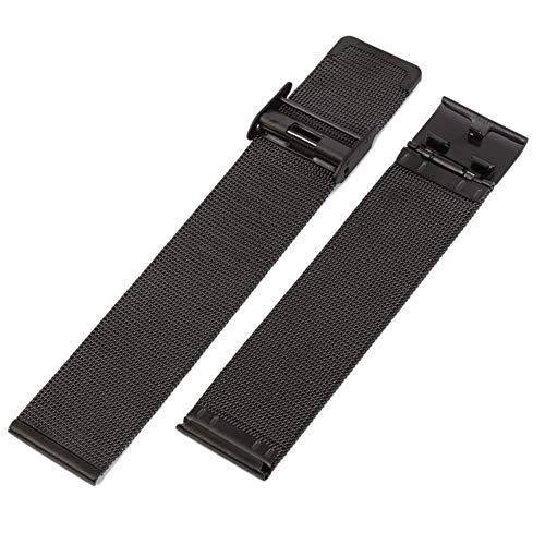 RHBLHQ Reloj de Acero del Reloj de la Venda de Metal Universal de Acero Correa de Pulsera 12 mm 14 mm 16 mm 18 mm 20 mm 22 mm 24 mm (Color : Black, Size : 24mm)