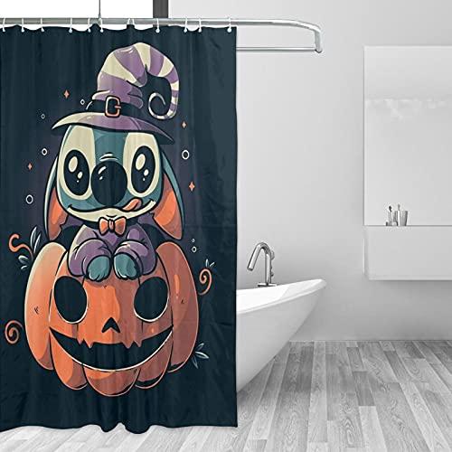 Cortina de ducha de dibujos animados anime Lilo Stitch Pesadilla antes de Navidad, impermeable, decoración de baño para el hogar con 12 ganchos de poliéster lavable de 156 x 172 cm