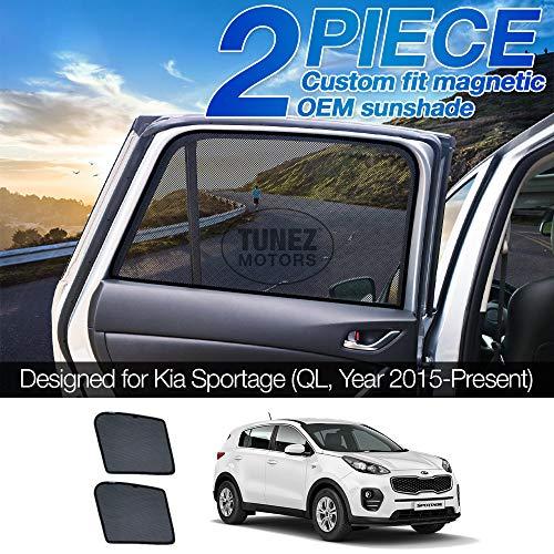 TUNEZ® Sunshades - Parasol magnético para ventana lateral de coche (compatible con KIA Sportage, QL año 2015 – 2020)