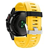 ZSZCXD Band for Garmin Fenix 3 / Fenix 3 HR, Soft Silicone Wristband Replacement Watch Band for Garmin Fenix 3 / Fenix 3 HR Smart Watch (Yellow)