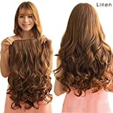 REECHO 20' 1-Pack 3/4 Full Head Curly Wave Clips in on Synthetic Hair Extensions Hairpieces for Women 5 Clips 4.6 Oz per Piece - Linen