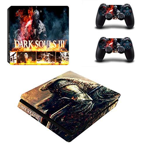 TAOSENG Dark Souls PS4 Slim Skin Sticker Decal Vinilo para Dualshock Playstation 4 Consola y Controlador PS4 Slim Skins Stickers Vinilo