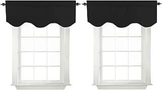 Turquoize Blackout Curtains Scalloped Valances Short Curtain Panels for Kitchen(52