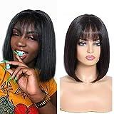 Ugrace Hair 2x5 Straight Bob Wigs Human Hair Short Bob Wigs With Bangs Straight Human Hair Wigs For Black Women Machine Made Bob Wig Black Color (12 inch, 2x5 bob wig with bangs black)