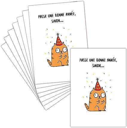 Carte De Voeux 2021 Humour Chat Drole 8 Cartes Postales 3 Formats Dispos Carte Passe Une Bonne Annee 2021 Sinon Amazon Fr Fournitures De Bureau