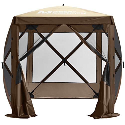 MASTERCANOPY Escape Shelter, 4-Sided Canopy Portable Pop up Canopy Durable Screen Tent Bug and Rain Protection (3-4 Persons), (72''x72'', Beige&Coffee)