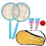 JZK Juego de bádminton azul para niños con 2 raquetas 6 lanzaderas, 1 pelota de tenis, 1 bolsa de transporte, para niños de 3 a 7 años de edad, raquetas de bádminton para al aire libre deporte juego