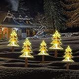 Solar Christmas Stake Lights, Outdoor Solar Garden Lights, Decorative Energy Saving Waterproof Solar Pathway Lights Christmas Decorations for Patio, Walkway, Yard, Lawn (Christmas Tree)