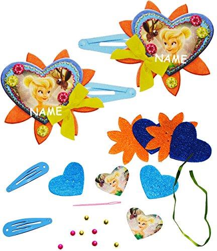 alles-meine.de GmbH Bastelset - Filz - 3-D Effekt _ Haarspangen -  Disney Fairies - Tinkerbell  - incl. Name - Haarschmuck - zum Sticken, einfaches Nähen per Hand - Komplettset..