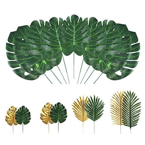 Selva Hojas, Plantas Artificiales, Hojas De Palma Artificiales, Falso Planta Tropical Tallos De Hawai 72pcs Hojas Verdes