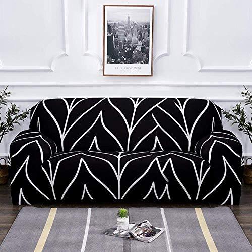 Lsqdwy Schwarz weiß grau Sofabezug Enge Wickel All-Inclusive-Gummiband Slipcovers Sofabezüge Sofabezug 1/2/3/4 Sitzer, K212, AB 90-140cm