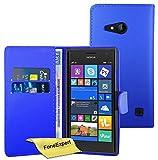 Nokia Lumia 730 735 Hülle, FoneExpert® Hülle Wallet Hülle Cover Hüllen Etui Ledertasche Premium Lederhülle Schutzhülle für Nokia Lumia 730 735 + Bildschirmschutzfolie (Wallet Blau)