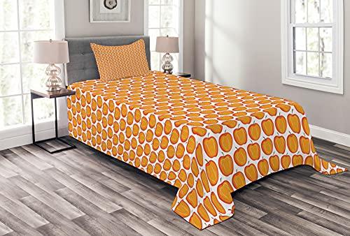 ABAKUHAUS Apfel Tagesdecke Set, Buntes Obst Grafik-Design, Set mit Kissenbezügen Sommerdecke, 170 x 220 cm, Orange & Vermilion
