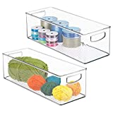 mDesign Stackable Plastic Storage Organizer Bin with Built-in Handles - for Craft, Sewing, Art, School Supplies in Home, Classroom, Playroom or Studio - 16' Long, 2 Pack - Clear