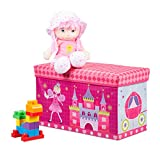 Relaxdays baúl para juguetes, taburete infantil, plegable, para niños y niñas, rosa