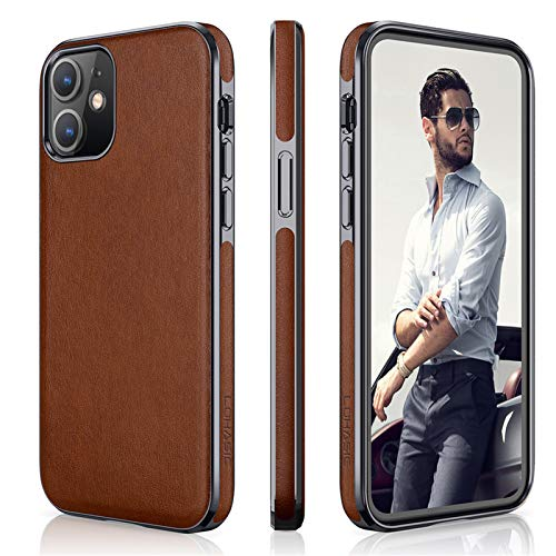 """LOHASIC Case for iPhone 12 Mini, Thin Soft PU Leather Luxury High-end Business Classic Cover Non Slip Anti Scratch Protective Phone Cases Compatible with iPhone 12 Mini(2020) 5.4"""" - Brown"""